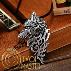 Кулон Волк, голова волка серебро 925