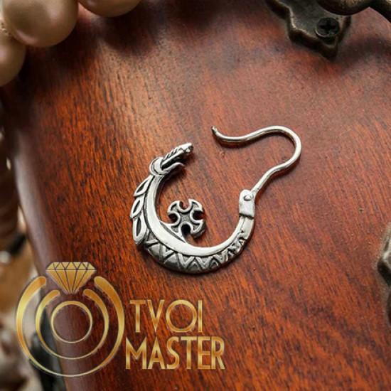 Казацкая серьга Змей попираемый крестом серебро