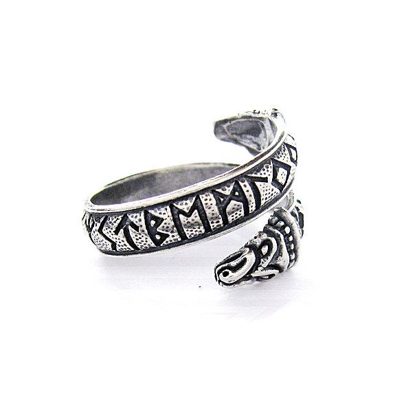 Кольцо змея с рунами,кольцо в виде змеи с рунами,славянское кольцо в виде змейки