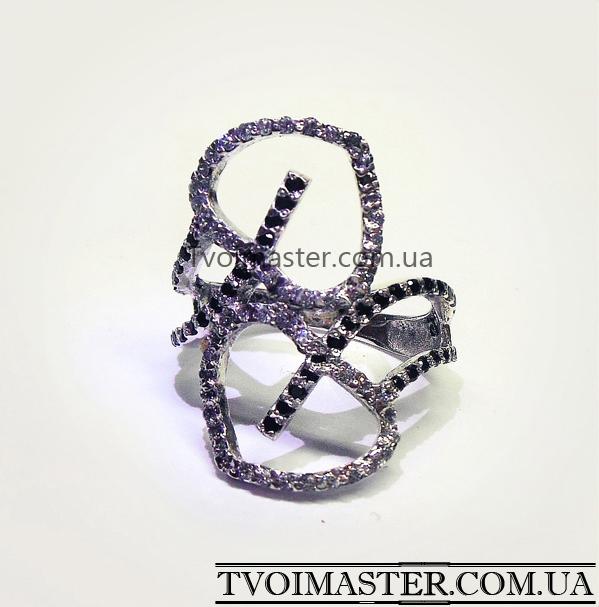 кольцо с 2 сердцами