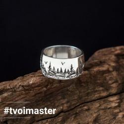 Стильное мужское кольцо Лес (серебро 925)