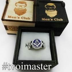 Мужское кольцо из серебра Масонское