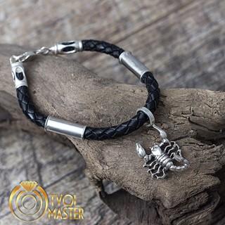 Браслет со скорпионом из кожи и серебра