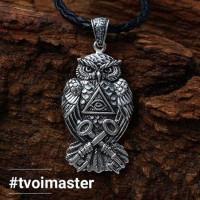 Кулон с масонской символикой Сова (серебро 925)